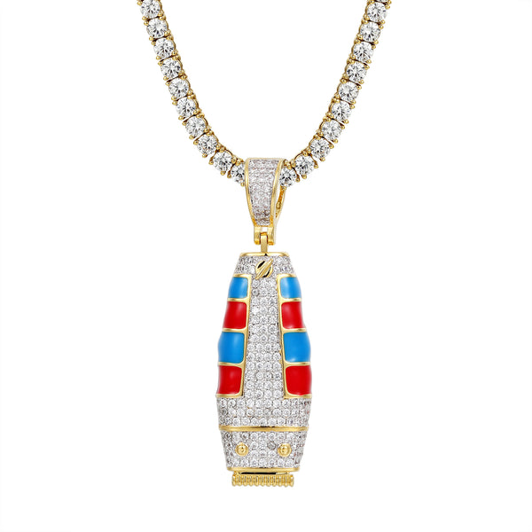 Iced Out Barber Clipper Trimmer Silver Pendant Chain