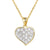 14k Gold Finish Solitaire Tilted Heart Pendant Chain Set