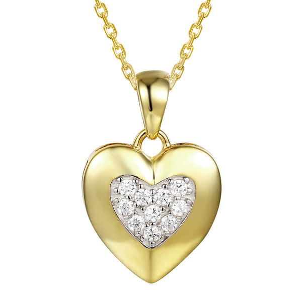 Heart in Heart 14k Gold Finish Love Pendant 18