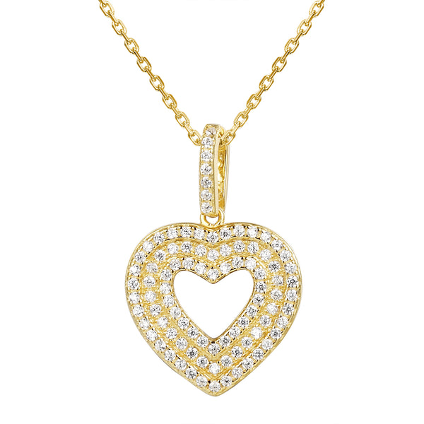 3 Row Solitaire 14k Gold Finish Love Heart Pendant Set