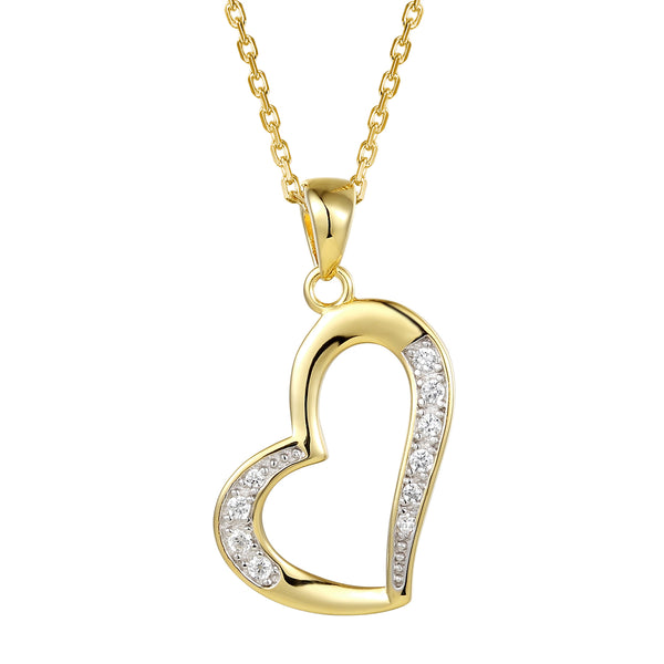Women's Tilted Open Heart Pendant Valentine's Set
