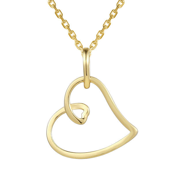 Tilted Plain Open Heart Love Pendant Chain Valentine's Gift