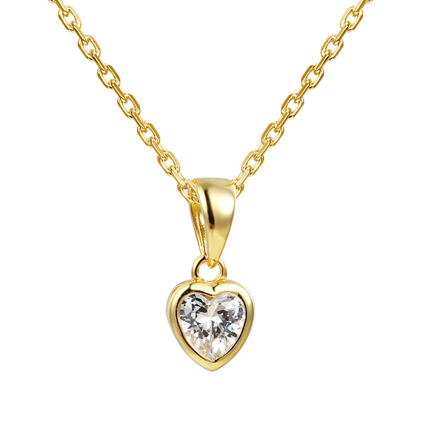 Small Heart Crystal Solitaire Pendant Chain Valentine's Set