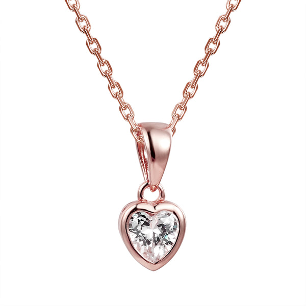 Heart Crystal Solitaire 14k Rose Gold Finish Pendant Valentine's