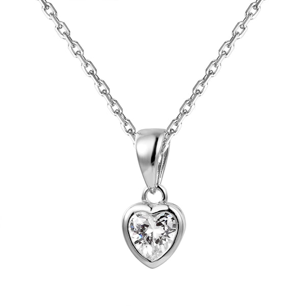 Sterling Silver Heart Crystal Solitaire Pendant Valentine's Gift