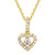 Dancing Solitaire Mini Love Heart 14k Gold Finish Pendant
