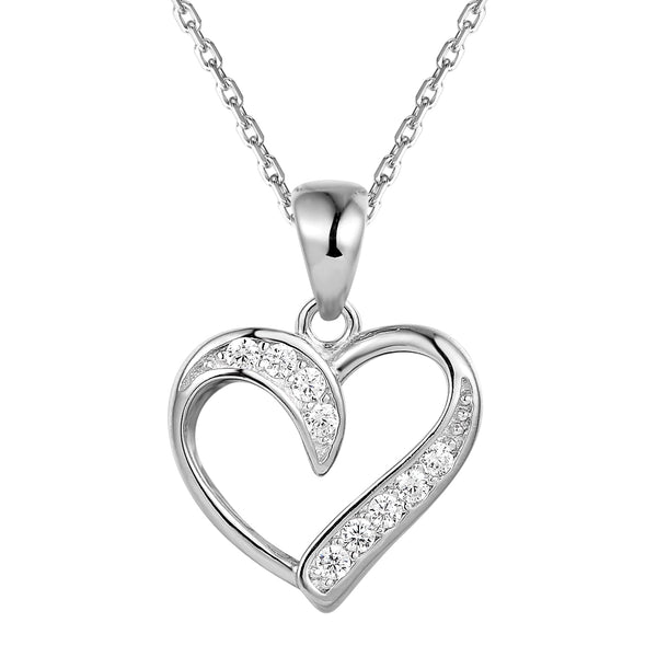 Twisted Solitaire Heart Sterling Silver Pendant Chain Set