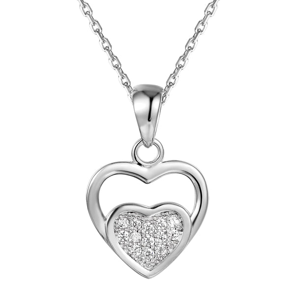 Double Heart Solitaire Sterling Silver Pendant Valentine's Gift