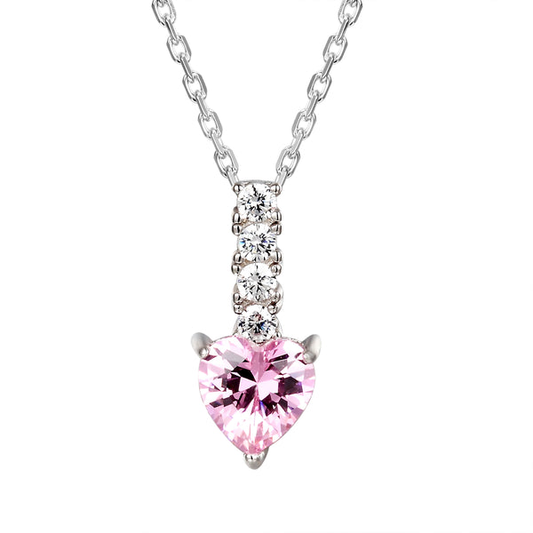 Sterling Silver Pink Heart Solitaire Love Pendant Chain Set