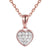 3D Solitaire 14k Rose Gold Finish Mini Heart Pendant Set