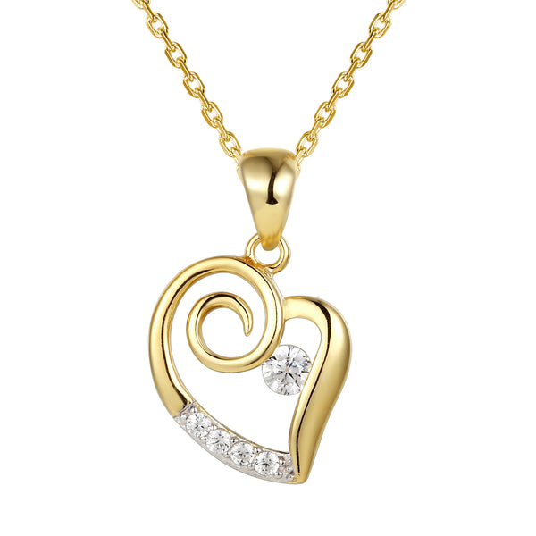Tilted Open Heart Dancing Solitaire Pendant Chain Valentine's
