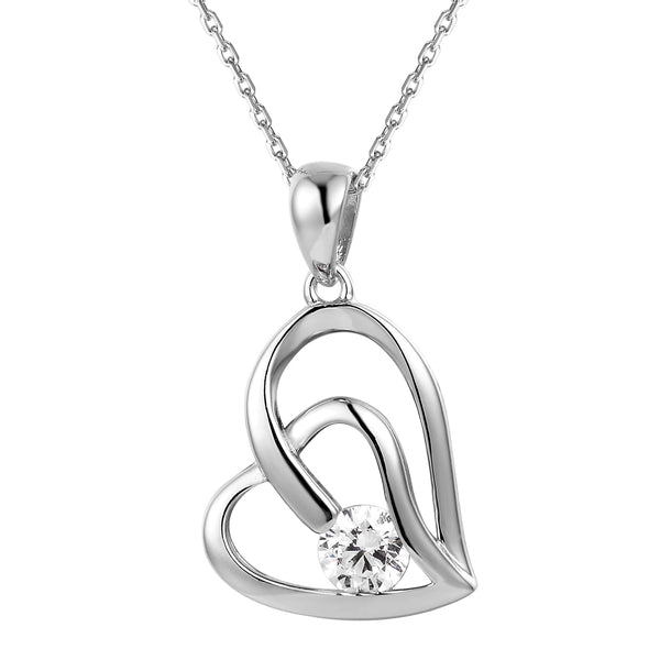 Tilted Double Heart Center Solitaire Silver Pendant Valentine's
