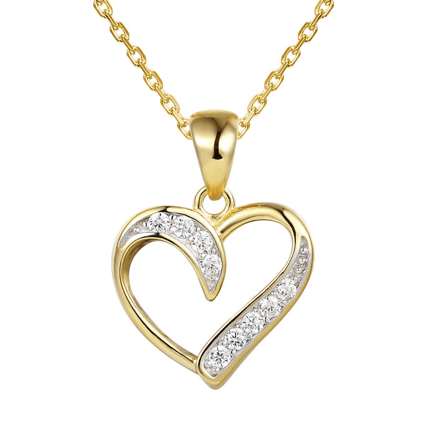 14k Gold Finish Solitaire Open Heart Pendant Chain