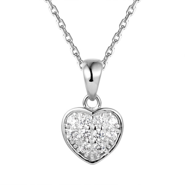 Sterling Silver Solitaire Iced Out Mini Heart Pendant Set