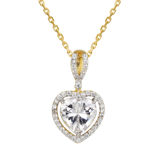 Clear Heart Crystal 14k Gold Finish Solitaire Heart Pendant