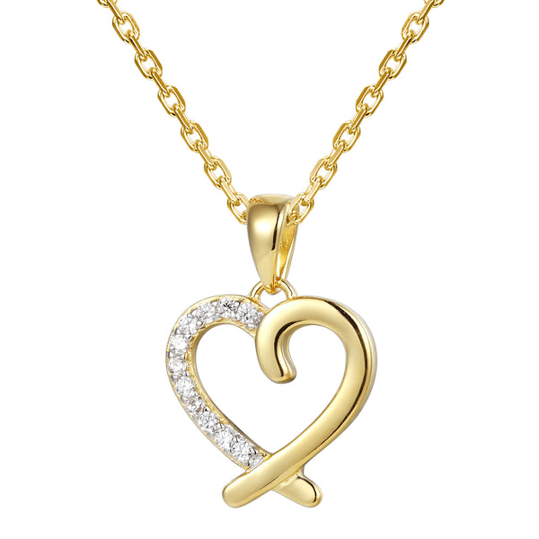 Designer 14k Gold Finish Open Heart Love Pendant Set