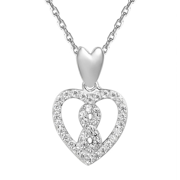 Sterling Silver Infinity Symbol Solitaire Heart Pendant Valentine's