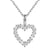 Solitaire Open Heart Frame Sterling Silver Pendant Chain Set