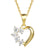 Designer Solitaire Semi-Heart Love 14k Gold Finish Pendant