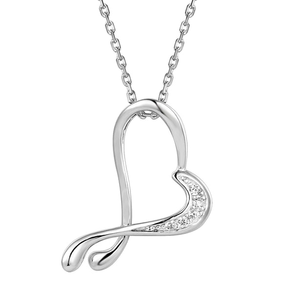 Sterling Silver Tilted Open Heart Twisted Pendant Gift Set