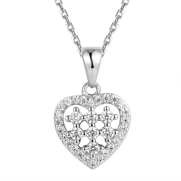 Sterling Silver Solitaire Women's Heart Pendant Valentine's