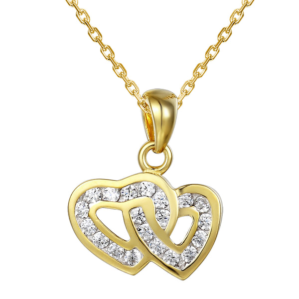 14k Gold Finish Designer Heart in Heart Solitaire Pendant Valentine's