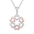 2 Tone Leaf Clover Heart Shaped Pink Silver Pendant Valentine's