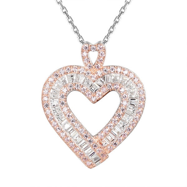 Silver Two Tone Baguette Stones Pink Heart Pendant Valentine's