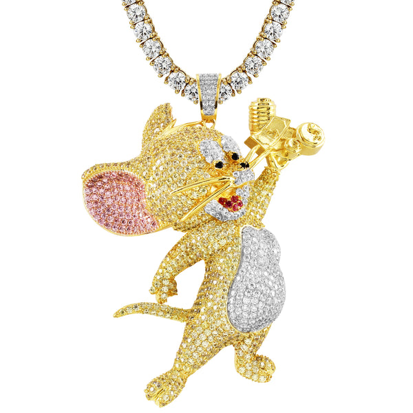 Custom Cartoon Character Mouse Hip Hop Pendant Free Chain