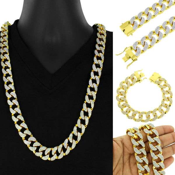 Iced Out 5 Kilo Simulated Diamond 14k Gold Tone Miami Cuban Link Chain Necklace