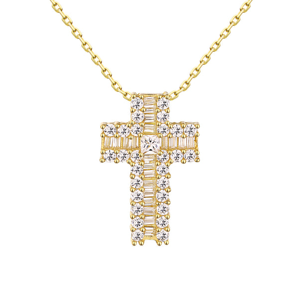 Cross Pendant Baguette Lab Diamond Yellow Sterling Silver Chain
