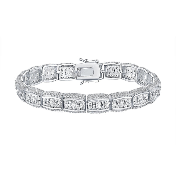Womens Gold Bracelet Oval Cut Lab Diamond White.925