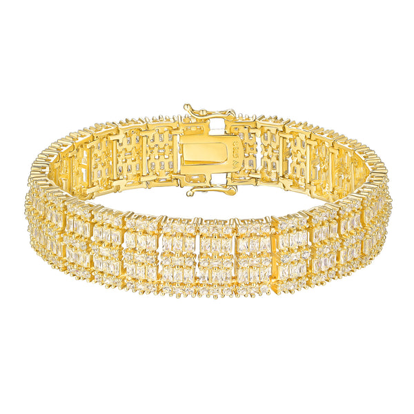 Baguette Cut Bracelet Yellow Gold On 925 Silver