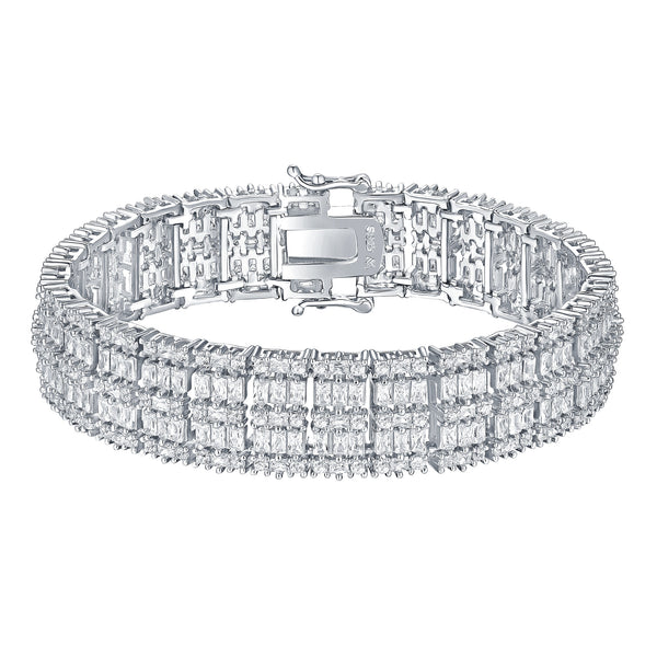 Baguette Cut Bracelet White Gold On 925 Silver