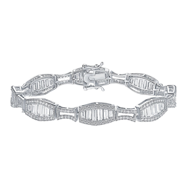 White Gold over Silver Womens Bracelet Lab Created Diamond Baguette