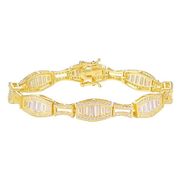 Yellow Gold over Silver Bracelet Lab Created Diamond Baguette
