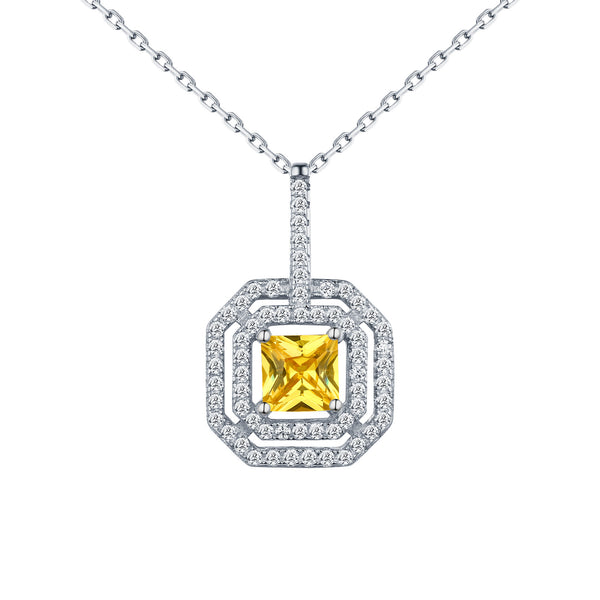Princess Cut Canary Solitaire Pendant Chain 925 Silver
