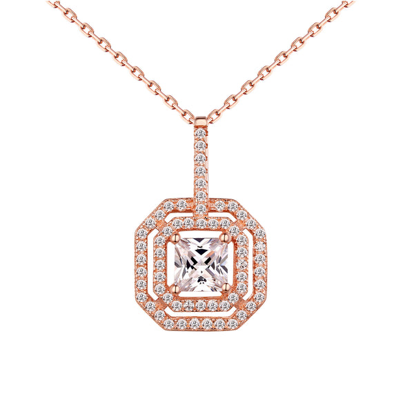 Princess Cut Solitaire Pendant Chain Rose 925 Silver