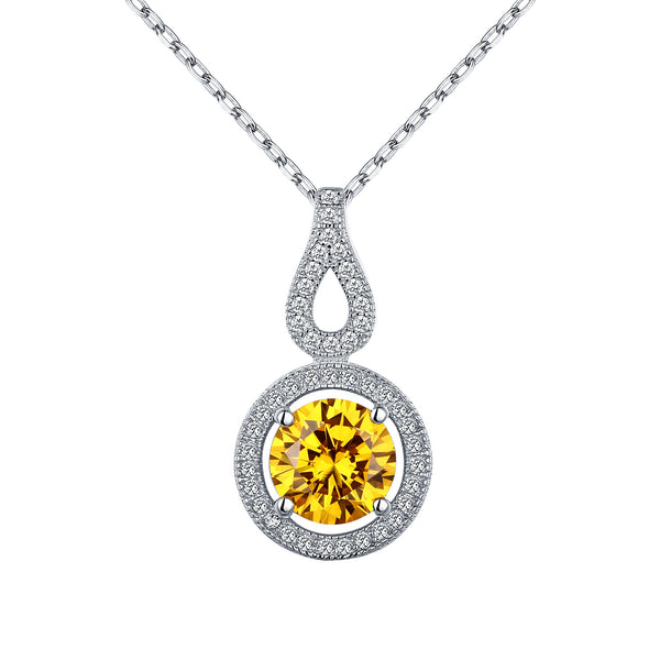 Womens Yellow Solitaire Pendant White Gold Over 925 Silver Chain