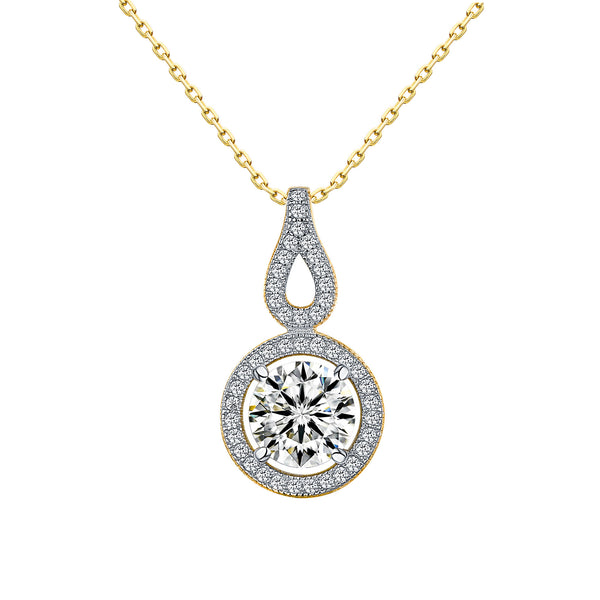 Womens Solitaire Pendant Yellow Gold Over 925 Silver Chain