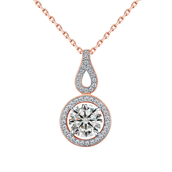 Womens Solitaire Pendant Rose Gold Over 925 Silver Chain