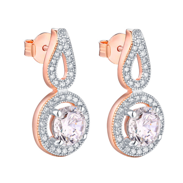 Rose Gold Finish Earrings Dangling 925 Silver