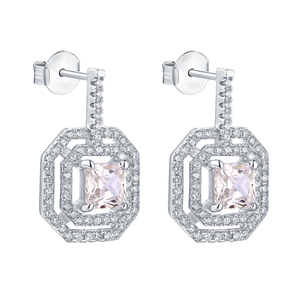 Huggies Earrings Square 14k White Gold Finish 925 Silver