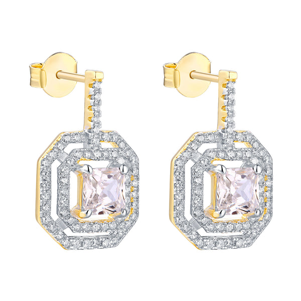 Danglers Earrings Square 14k Yellow Gold Finish 925 Silver
