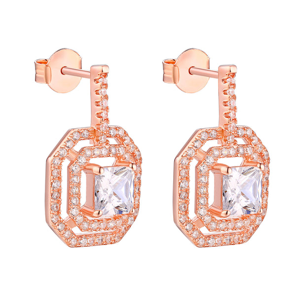 Huggies Earrings Square 14k Rose Gold Finish 925 Silver