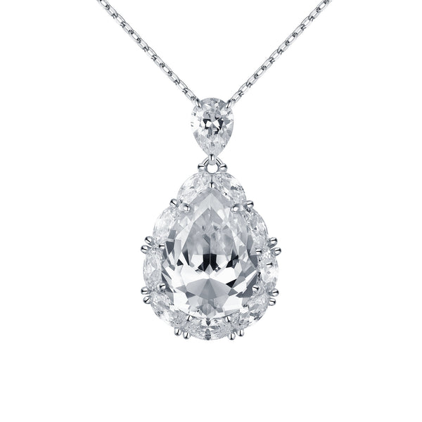 Solitaire Pendant Ladies Lab Diamond Sterling Silver With Chain