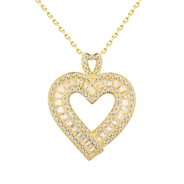 Heart Pendant Chain Baguette Lab Diamond Yellow Gold Tone