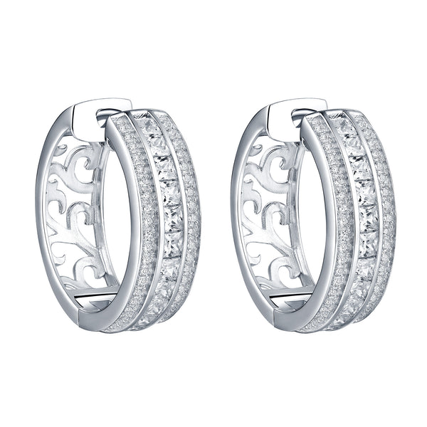 Hoop Earrings Princess Cut Simulated Diamonds Sterling Silver