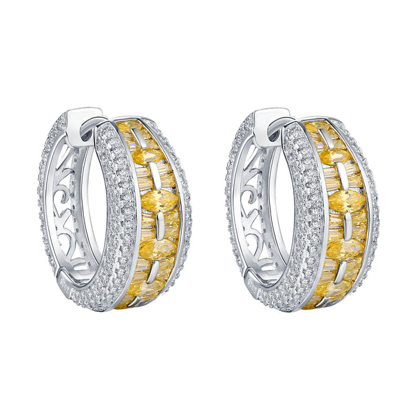 Yellow / White Silver Hoops Baguette Cut Lab Crystals