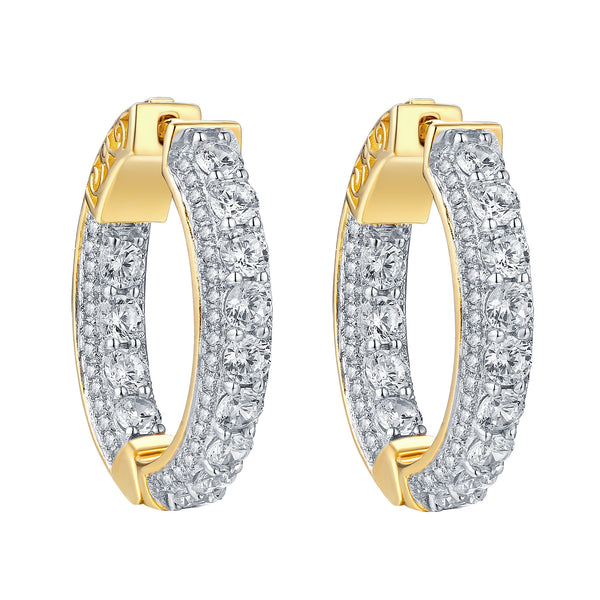 Hoop Earrings Iced Out Simulated Diamonds 14k Yellow Finish Sterling Silver